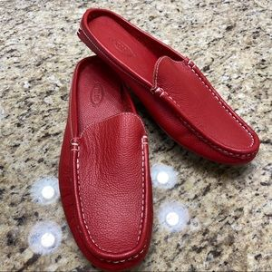 NWOT TODS Red Leather Slip On Loafers